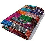 "Jaipur Handicraft Patola Silk Patch Work Kantha Rallies Indian Saree Quilt, Blanket Bedspread Throw, King Size, 90"" X 108"", Multicolour"