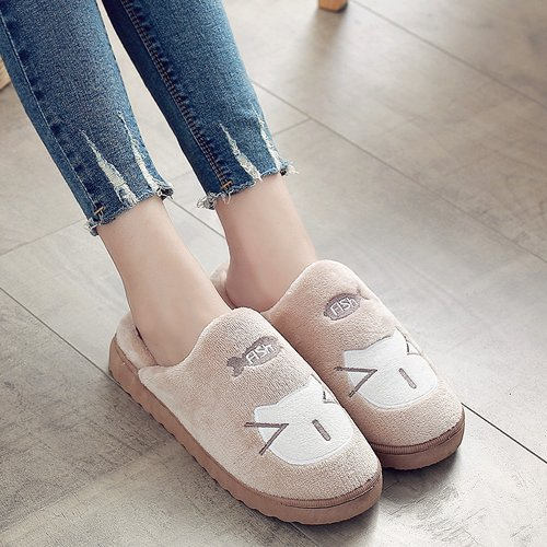 DogHaccd pantofole,In autunno e inverno il cotone pantofole in camera soggiorno pacchetto caldo con un bel cotone spessa scarpe e calzature donna Brown3