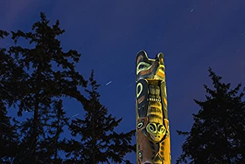 Kevin Smith / Design Pics – A large Totem Pole lit up at night in Sitka National Historic Park with star trails overhead Sitka Southeast Alaska USA Summer Photo Print (48.26 x 30.48 cm)