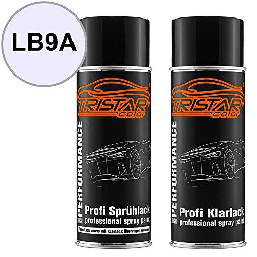 Preisvergleich Produktbild TRISTARcolor Autolack Spraydosen Set VW/Volkswagen LB9A Candyweiss/Candy White Basislack Klarlack Sprühdose 400ml