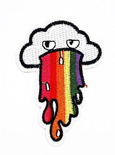 Parche de dibujos animados Little Bear Shop con diseño de arcoíris vómitos en la nube y punk a través de la boca, para niños, bordado a mano, para planchar y coser