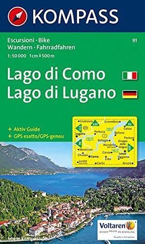 Carta escursionistica n. 91. Laghi settentrionali. Lago di Como, Lago di Lugano 1:50000