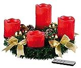 Britesta Adventskränze modern: Adventskranz mit roten LED-Kerzen, goldfarben geschmückt (Weihnachtsschmuck Tischkranz)