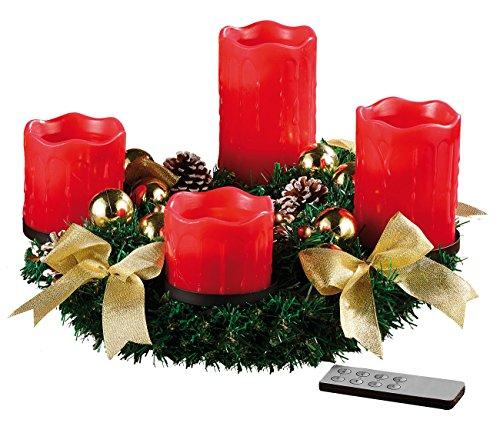 Kranz Tannenzapfen-kerze (Britesta Advents-Kränze: Adventskranz mit roten LED-Kerzen, goldfarben geschmückt (Weihnachtsschmuck Tischkranz))