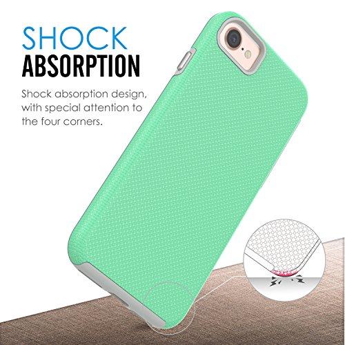 MoKo iPhone 8 / iPhone 7 Hülle - [Anti Fallen Serie] Silikon + Hart Polycarbonat Protector Phone Case Handy Schutzhülle Schale Bumper für Apple iPhone 8 / 7, Magenta Mint Grün