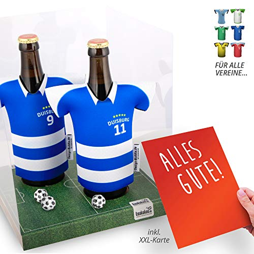 vereins-Trikot-kühler Away für MSV Duisburg-Fans | 2er Geschenk-Box-Edition| 2X Trikots | Fußball Fanartikel Jersey Bierkühler by ligakakao.de