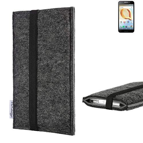flat.design Handyhülle Lagoa für Alcatel A30 Plus   Farbe: anthrazit/grau   Smartphone-Tasche aus Filz   Handy Schutzhülle  Handytasche Made in Germany