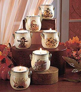 KNL Store Set von 6Skurril Keramik Fall Harvest Teelicht keramikpfeiler Urlaub Decor Keramik Cookie Jar