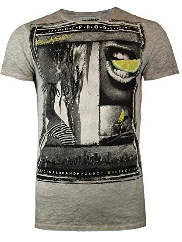 trueprodigy Casual Herren Marken T-Shirt mit Aufdruck, Oberteil cool und stylisch mit Rundhals (kurzarm & Slim Fit), Shirt für Männer bedruckt Farbe: Dunkelgrau 1062119-5203-L