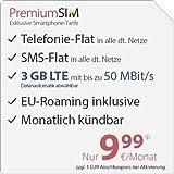 PremiumSIM LTE 2000 [SIM, Micro-SIM und Nano-SIM] monatlich kündbar (3 GB LTE mit max. 50 MBit/s + Datenautomatik abwählbar, Telefonie-Flat und SMS-Flat, EU-Roaming inklusive, 9,99 Euro/Monat)