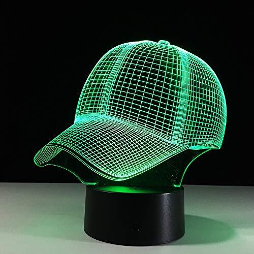 Tianyifengg 3D Nachtlicht -7 Farbe - Fernbedienung - Baseball Cap Light Roman Nachtlicht Tischlampe Farbwechsel Tischlampe