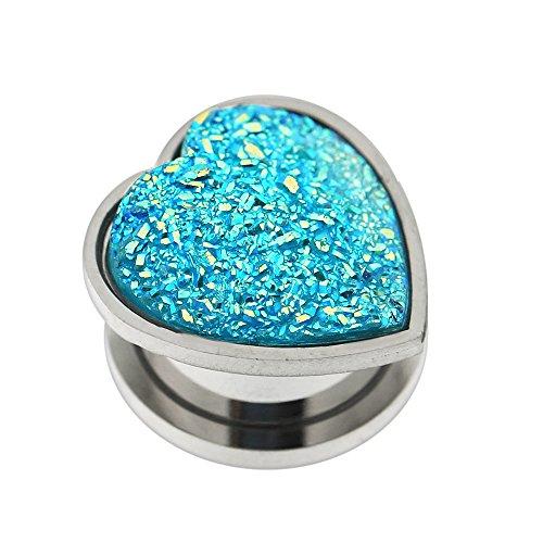 Coloré rugueux étincelant cœur Aqua inox 316L chirurgical acier monovis forme Tunnel de chair