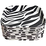 Decornt Food-Grade Melamine Square Shape Appetizer Plate/Snack Plate/Chat Plate/Quarter Plat, 6x8-inch(Black And White) - Set Of 8
