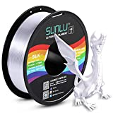 SUNLU Silk PLA Filament 1.75mm, 3D Printer Filament Silk, Silky Shiny Filament PLA for 3D Printers and Pens, 1kg(2.2Lbs)/Spool, Silk Silver