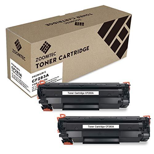 ZOOMTEC Compatible Cartucho de Tóner para HP 83A CF283A for Use with HP Laserjet Pro MFP M125 M127fn M127fw M202dw M225dn M225dw M225rdn M202n M201dw M201n, 2 Negro