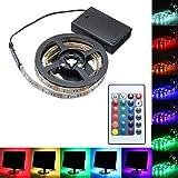 MASUNN 30/50/100/150/2200 cm Batteriebetriebene 5050 RGB LED Flexible Streifen Licht + Fern Party Wohnkultur Dc5V-150 cm