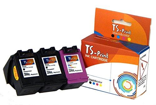 Ts-print set di 3 cartucce d'inchiostro compatibili con 2x hp-304-xl black nero + hp-304-xl tri-color colorata deskjet 2620 2630 2632 2633 3700 3720 3730 3732 3733 3735 envy 5020 5030 5032 5034