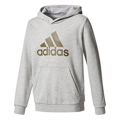 adidas Jungen YB Logo Hoodie Kapuzenpullover, Mgreyh/Traoli, 116 (Sweatshirt Tennis-mädchen)