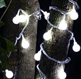 SHHE Fairy Lights 10M 80 LED 2 Modes Battery Operated Globe String Lights for Home Party Birthday Garden Festival Wedding Christmas Indoor Outdoor Use(Pure White)