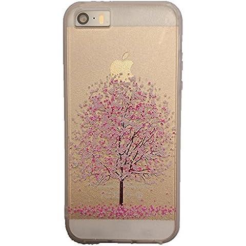 Funda para Apple iPhone 5 / 5S / SE 4-Pulgada Smartphone, MaiJin Hermoso árbol de Cerezo Relevación 3D Cáscara Mate