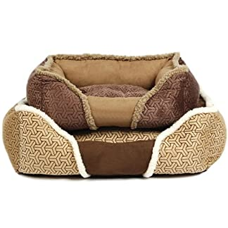Bunty Kensington Dog Bed Soft Washable Fleece Fur Cushion Warm Luxury Pet Basket - Brown - Small 14