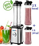 Smoothie Maker + 3 Trinkbecher (2x 600ml + 1x 300ml) Standmixer Edelstahl 350 Watt Mix & Go Smoothie to go Mixer Shaker (+ 3 Trinkbecher / Edelstahl)