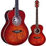 Lindo Guitars LDG-RA04CS Guitare acoustique Lava avec préamplificateur A-4T, tuner numérique, sortie XLR, écran LCD avec rétroéclairage orange et housse de transport