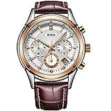 BUREI cronógrafo Reloj de Cuarzo analógico Reloj con Correa de Cuero de Cristal Scratch Resistente (Oro Rosa)