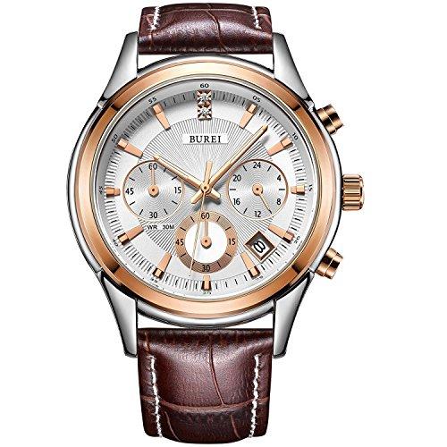 Burei cronografo orologio analogico al quarzo orologi da polso con resistente ai graffi minerale di cristallo lente in pelle cinturino
