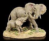 Figur Elefanten Familie - Mutter mit Kind | Dekofigur, Handbemalt