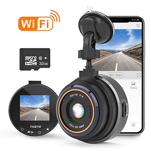 "THIEYE Dash Cam Wifi Full HD 1080P, Mini Car DVR Dashboard Camera with 32GB SD Card, Super Night Vision, 1.5"" LCD Display, 170 Super Wide Angle, G Sensor, Parking Monitor, Motion Detection, WDR"