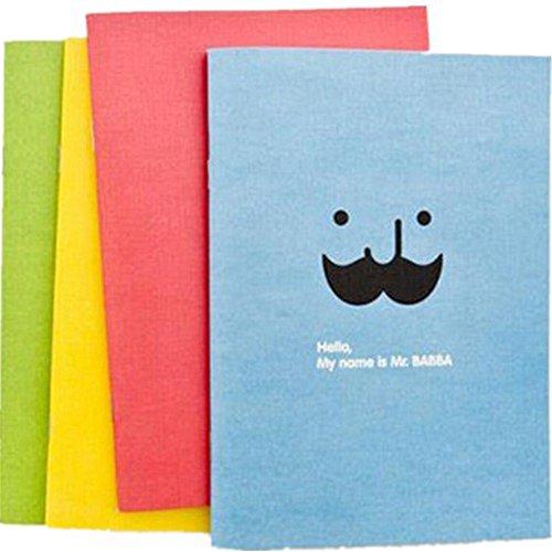 4Pcs Cute Candy Farbe Schnurrbart Print tragbar Record Book schreiben Journal Personalisierte Travel Diary Notebook Geschenk für Studenten Kinder, Farbe kann variieren ()