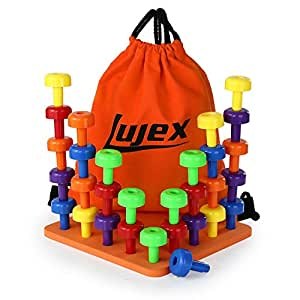Lujex 30 Pieces ABS Pegs and Board Set Educational Puzzle Toy Color Recognition Sorting Counting for Toddlers and Preschoolers (Colorful)