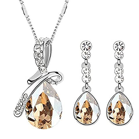 Neevas Crystal Elegant Emerald Drop Pendant Bow Knot Jewellery Set: Earrings & Necklace (Yellow)