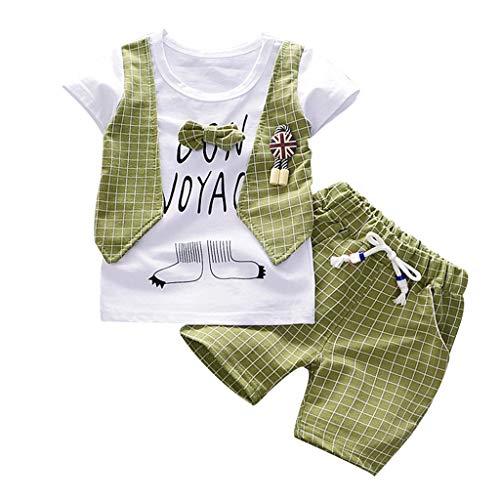 Julhold Kleinkind Baby Jungen Süß Mode Herren Bogen Slim T-Shirt Baumwolle Tops Shorts Hosen Outfits Kleidung Set 0-3 Jahre