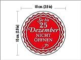 N1108_12DE Packung mit 12 Runde Weihnachts Seals - Öffnen Sie nicht bis zum 25.-ten Dezember 100 mm Siegeletiketten, Aufkleber für die Geschenkverpackung, Geschenke, Umschläge, Taschen