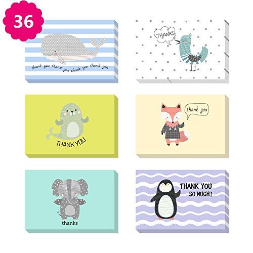 Morkka 36 Pack Kraftpapier Danke Karten Grußkarte Umschläge und Aufkleber für Hochzeit Graduation Men & Women Sympathie(Karikatur ) (Sympathie-karten Für Danke Die)