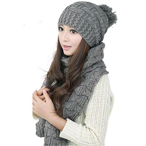 KanLin 1Set Women Warm Woolen Knit Hood Scarf Shawl Caps Hats Suit (Hüte Kostüm Hi)