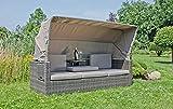 Garten Multi Sofa + Dach Gartenlounge Terrassen Lounge Sitzgruppe Möbel grau