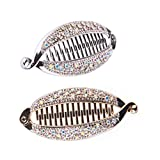 Lurrose - Fermagli per capelli a forma di pesce, con strass, 4 pezzi, con bordi arrotondati (oro, argento)