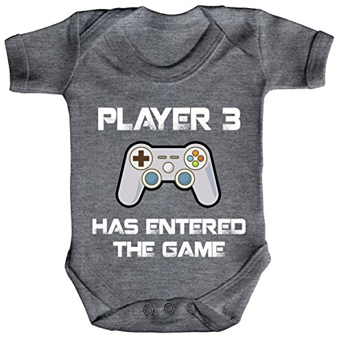 ShirtStreet Vatertag Gamer Geek Nerd Strampler Bio Baumwoll Baby Body kurzarm Player 3 has entered the Game, Größe: 0-3 Monate,Heather Grey Melange (Mädchen Für Nerd-outfit)
