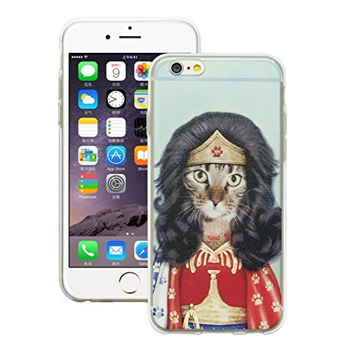 iProtect Schutzhülle Apple iPhone 6 6s Soft Case Hülle Rap Hund Edition lila Wondercat Katze Edition hellblau