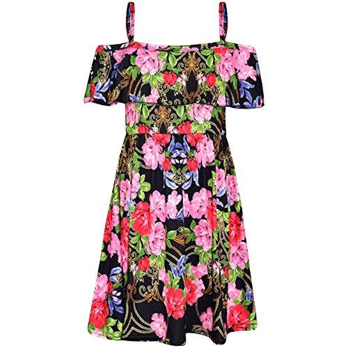 A2Z 4 Kids® Mädchen Skater Kleid Kinder Blumen Aufdruck - Off Shoulder Floral Pink & Red 9-10 (Kleid Pink Tartan)