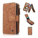 A9H Samsung Galaxy S6 / S6 Multifunktions Hochwertigen PU Leder Handy Tasche mit Schutzhülle Handyhülle hülle und Geldbörse 2 in 1,brown