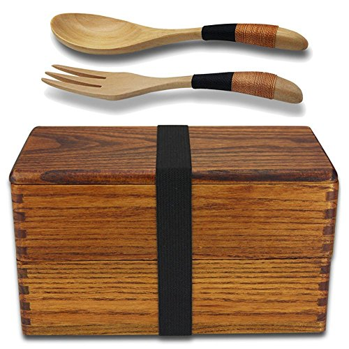 Lunchbox,Bento Box Meal Natürliche Holz Double Layer japanischen Stil Lebensmittel Obst Kinder & Erwachsene Sushi Sandwich Container für Reisen Schule Camping (mit Gabel Löffel Kit)