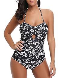 Bmeigo Maillot de Bain 1 pièce Femme Vintage Fleur Monokini Trikini  rembourré Push-up Swimwear 57df6a18c4e