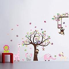 Idea Regalo - Giungla foresta animale scimmia, scoiattolo e gufo altalena gioco sul wall stickers adesivo da parete albero di scorrimento colorata sala giochi per i bambini
