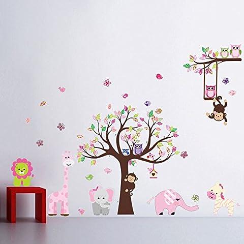 Jungle Waldtier Affe, Eichhörnchen und Eule Schaukel Spiel auf bunten blättern Baum Wandtattoo Wandaufkleber