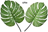 YATAI 6 Pcs Artificial Plants Swiss Cheese Monstera Deliciosa Green Leaf Tropical Foliage Fake Plant – Artific
