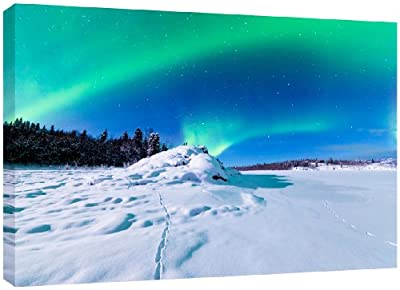 MOOL Large 32 x 22-inch Northern Lights Aurora Borealis Canvas Wall Art Print Hand Stretched on a Wooden Frame with Giclee Waterproof Varnish Finish Ready to Hang - cheap UK canvas store.
